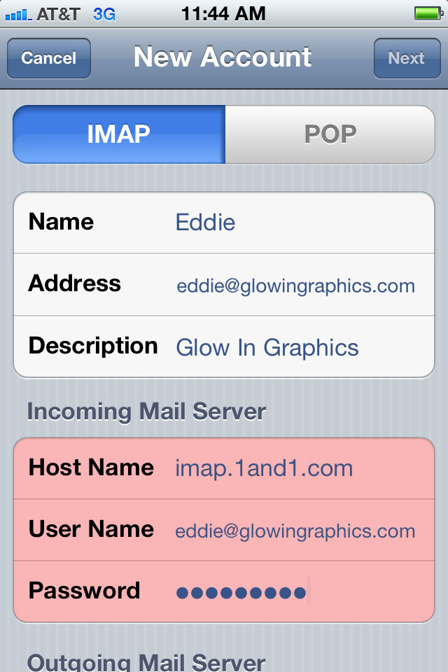 How To Set Up 1 1 E Mail On The IPhone Glow In Graphics LLC